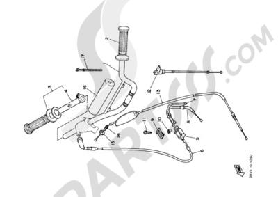 Yamaha PW80 2000 STEERING HANDLE CABLE