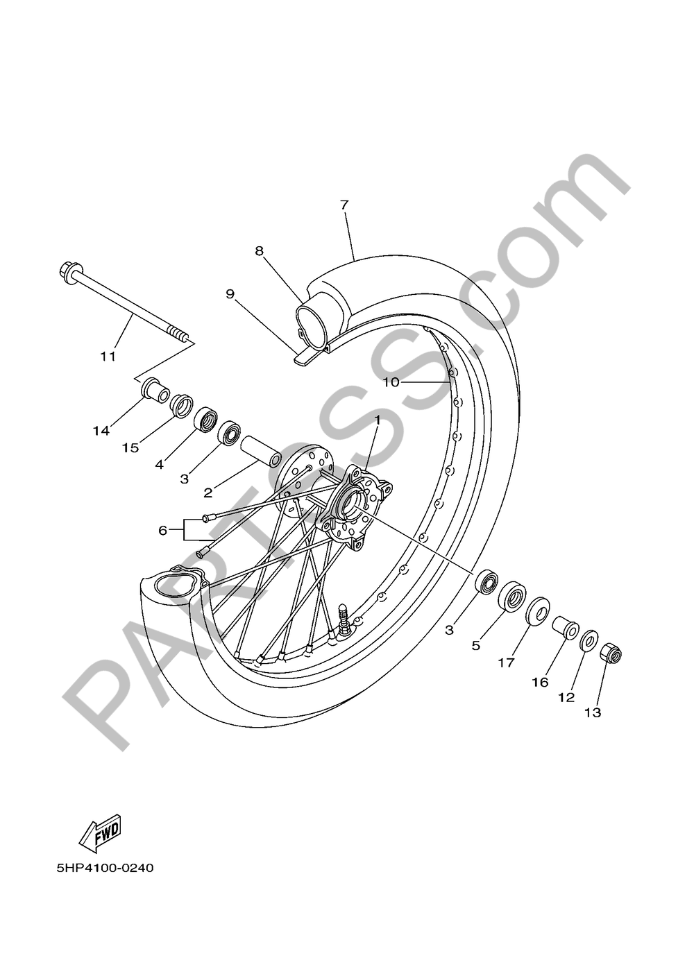 FRONT WHEEL Yamaha TT-R125 2016