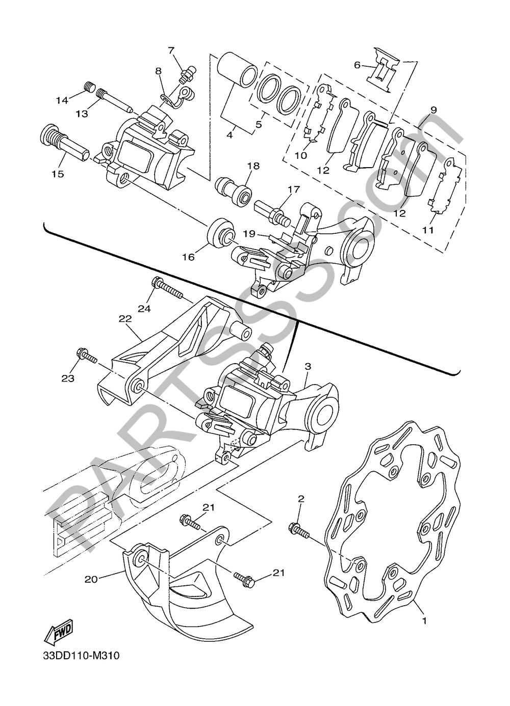 REAR BRAKE CALIPER Yamaha WR250F 2017