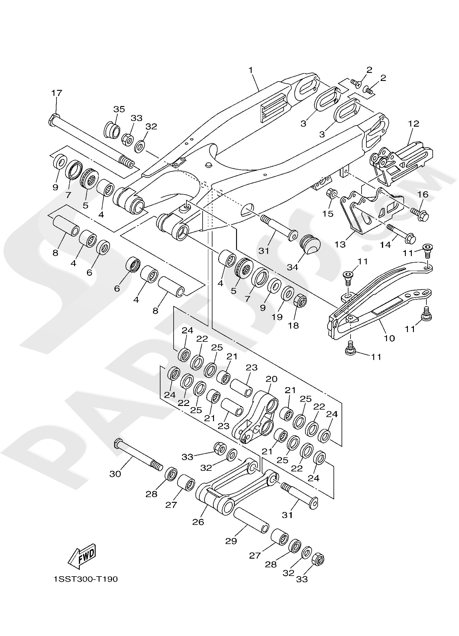 Yamaha YZ250 2019 REAR ARM