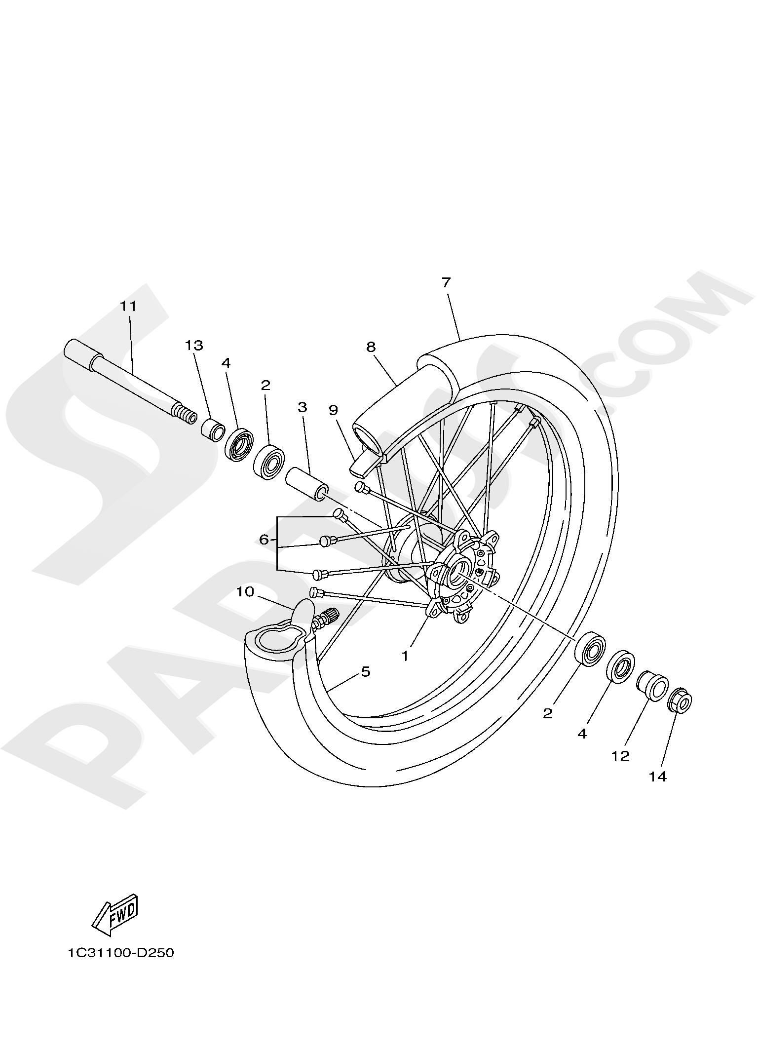 Yamaha YZ250 2019 FRONT WHEEL