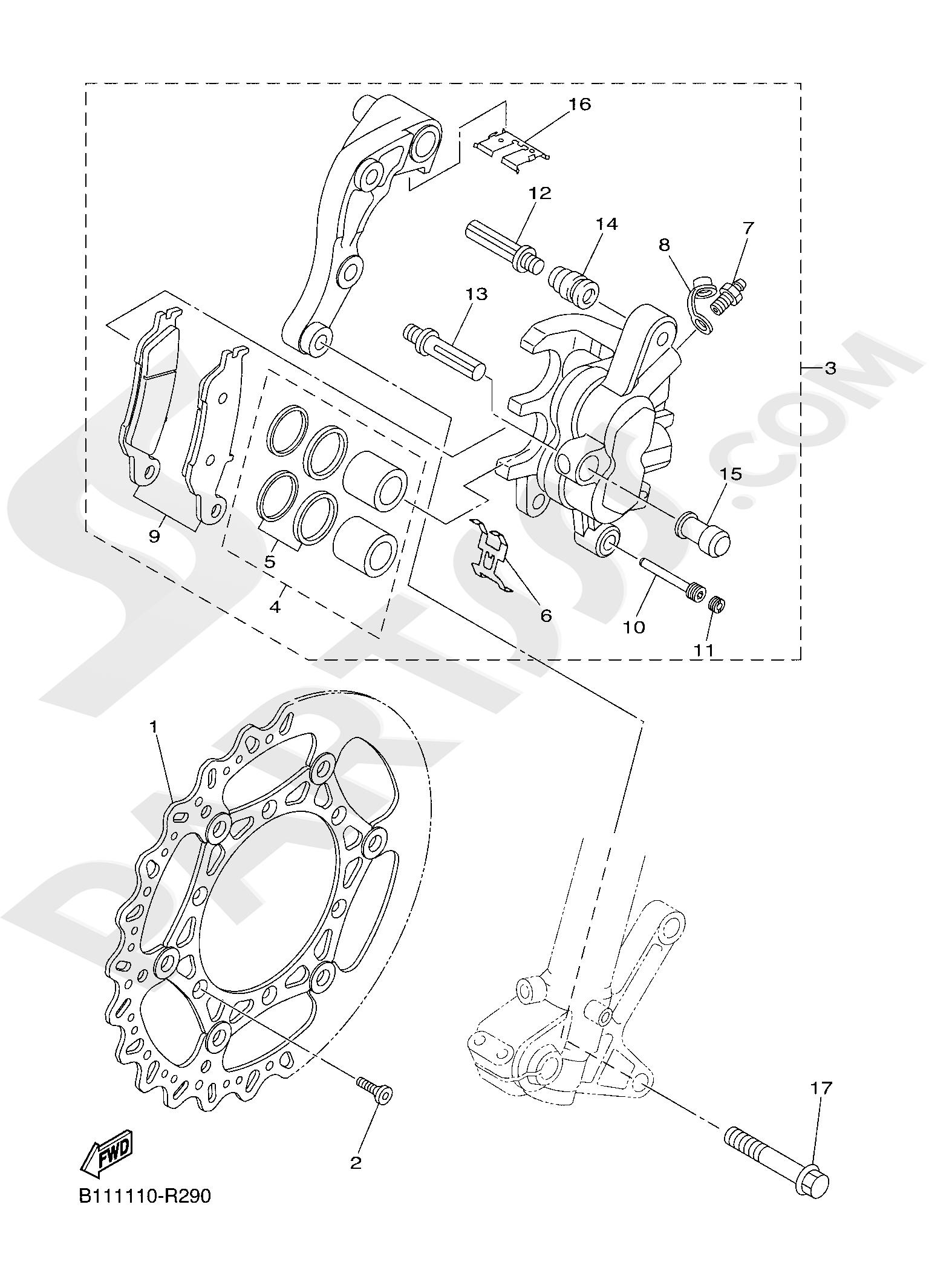 Yamaha YZ250 2019 FRONT BRAKE CALIPER