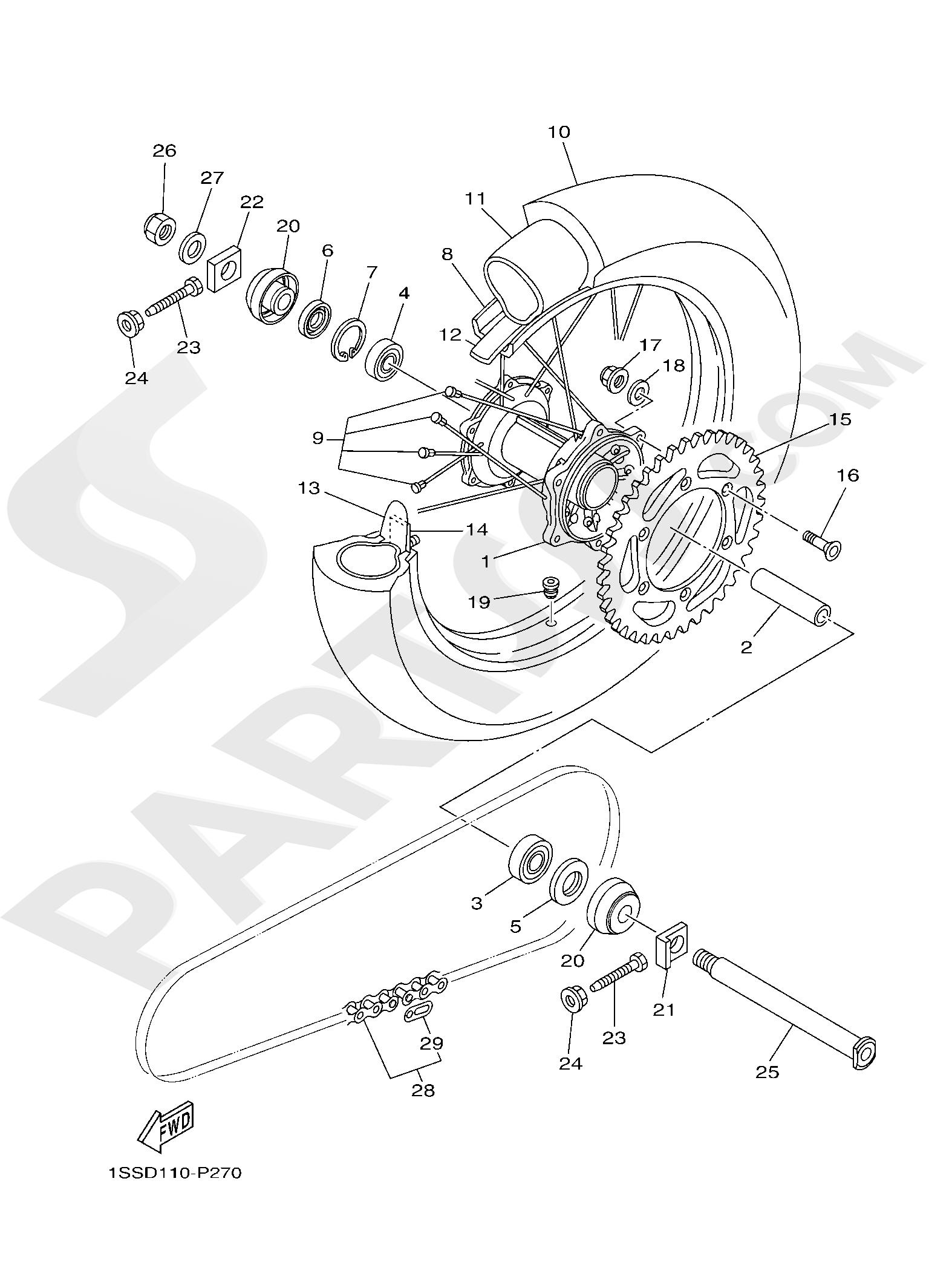 Yamaha YZ250 2019 REAR WHEEL