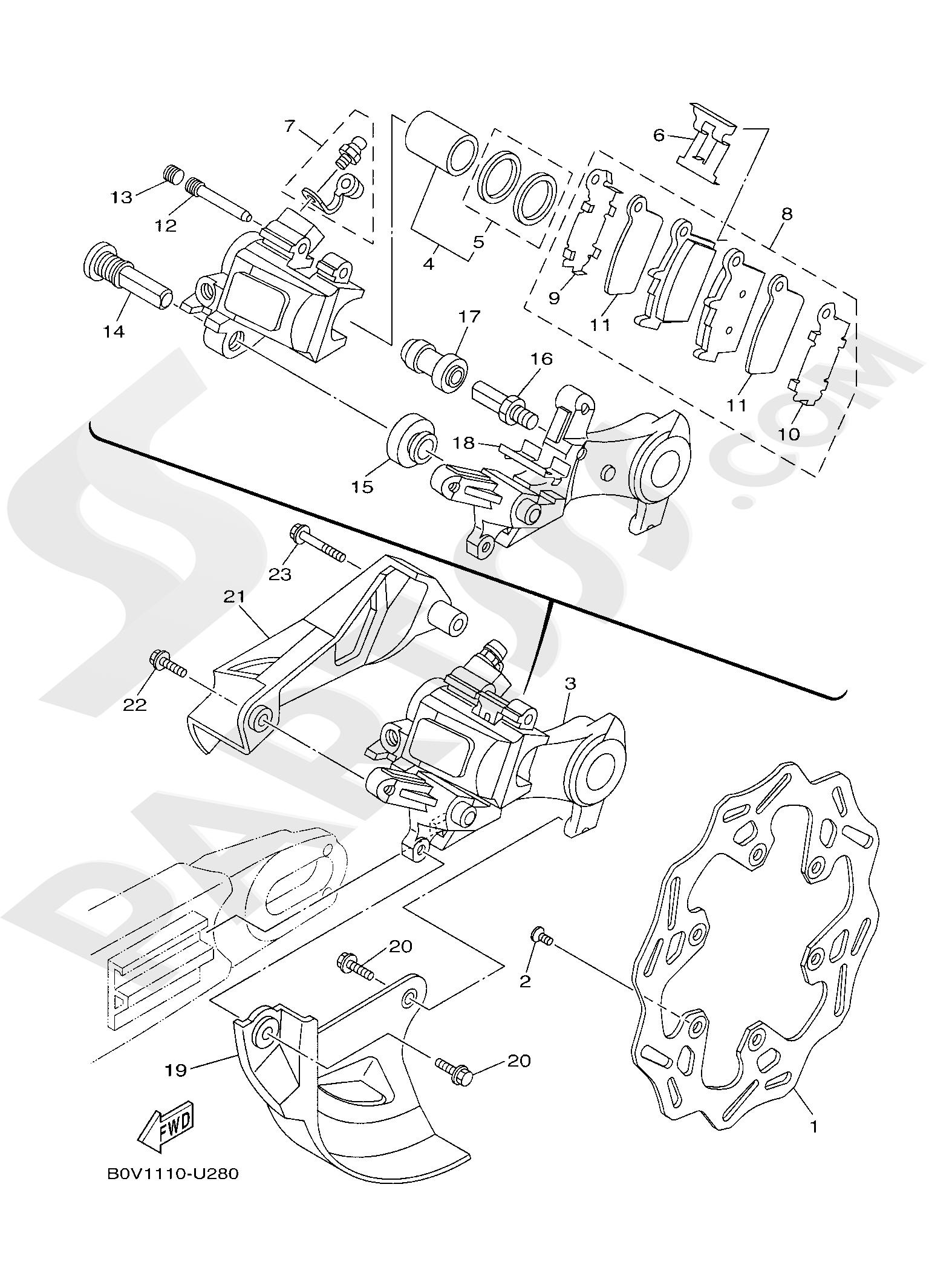 Yamaha YZ250 2019 REAR BRAKE CALIPER