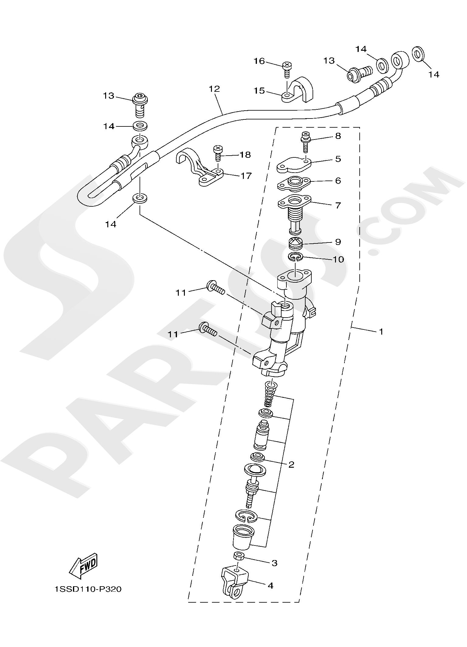 Yamaha YZ250 2019 REAR MASTER CYLINDER