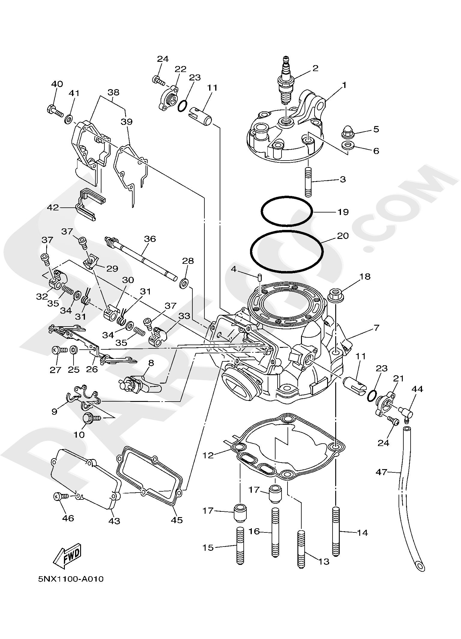 Yamaha YZ250 2019 CYLINDER HEAD