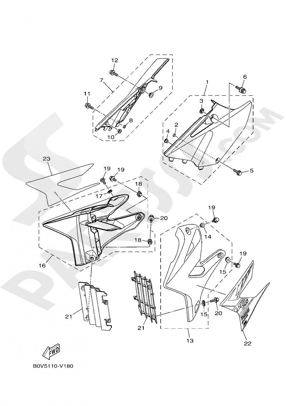 SIDE COVER Yamaha YZ125 2020