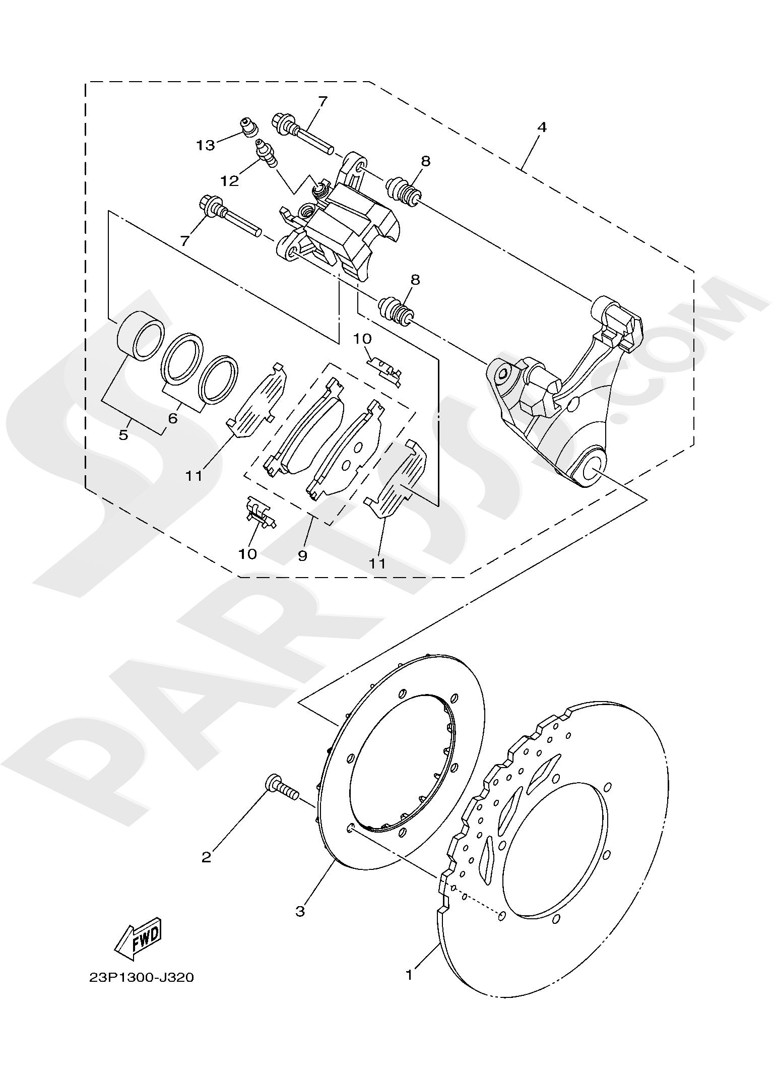 Yamaha XT1200ZE SuperTenere 2019 REAR BRAKE CALIPER