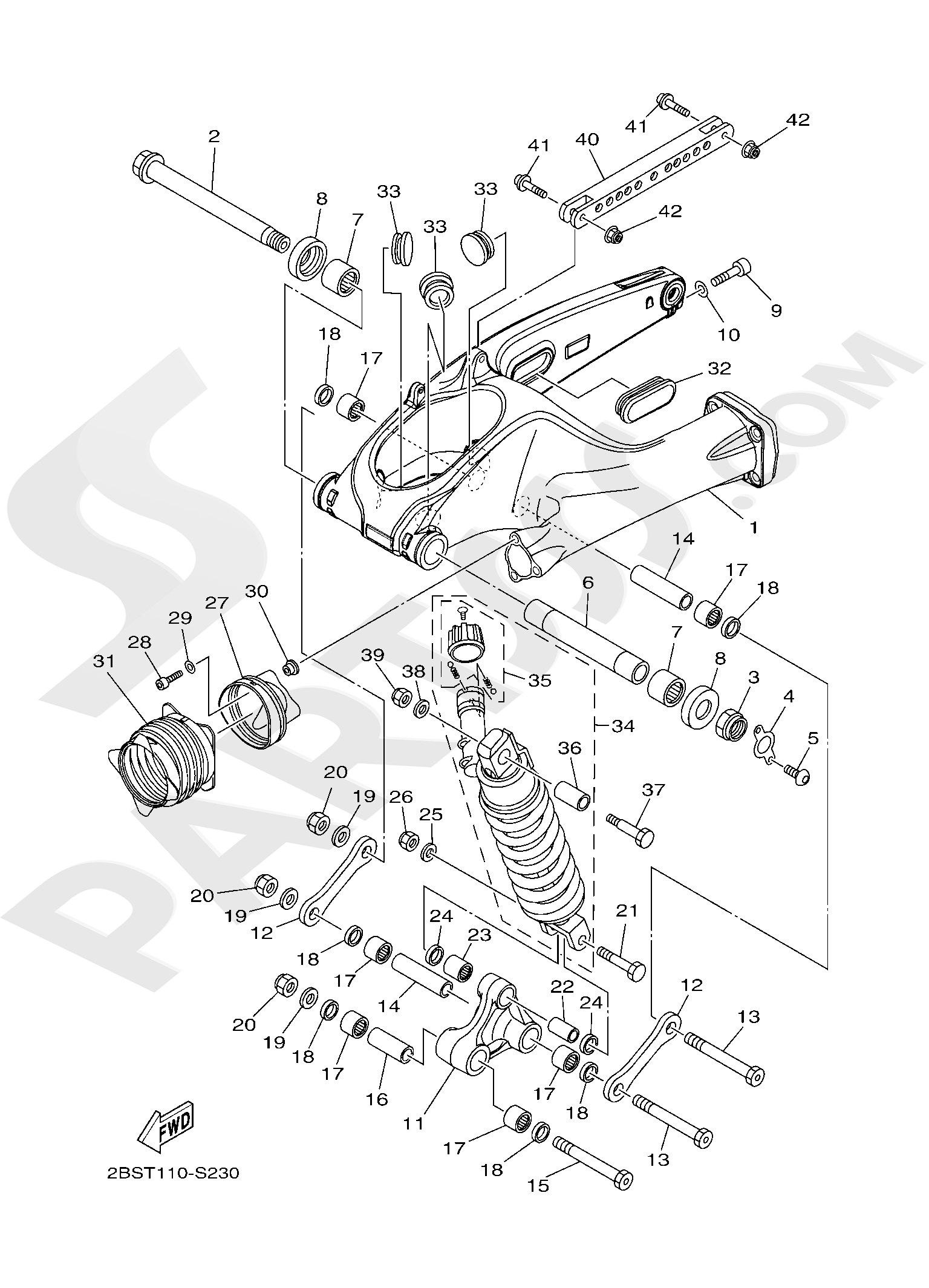 Yamaha XT1200Z SuperTenere 2019 REAR ARM & SUSPENSION