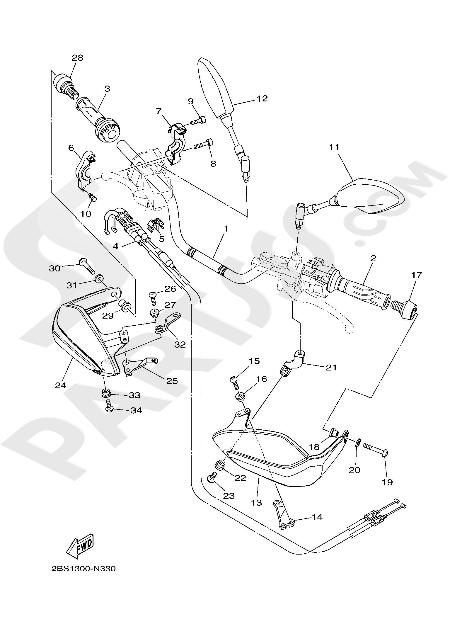 Yamaha XT1200Z SuperTenere 2019 STEERING HANDLE & CABLE