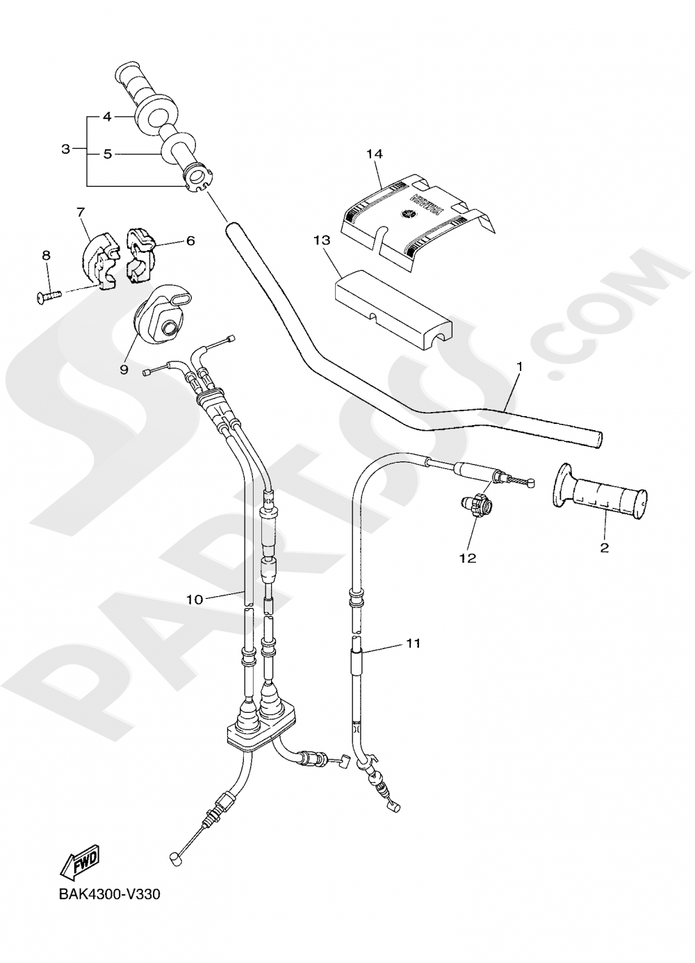 STEERING HANDLE & CABLE Yamaha WR250F 2020