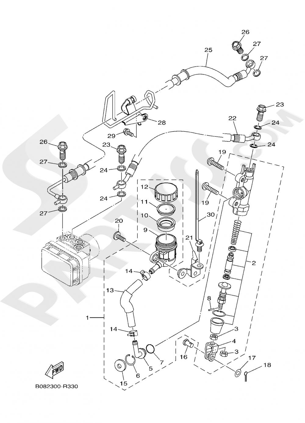 REAR MASTER CYLINDER Yamaha MT-03 ABS 300CC. 2020
