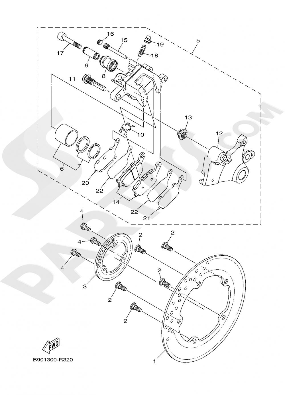 REAR BRAKE CALIPER Yamaha XSR900 2019