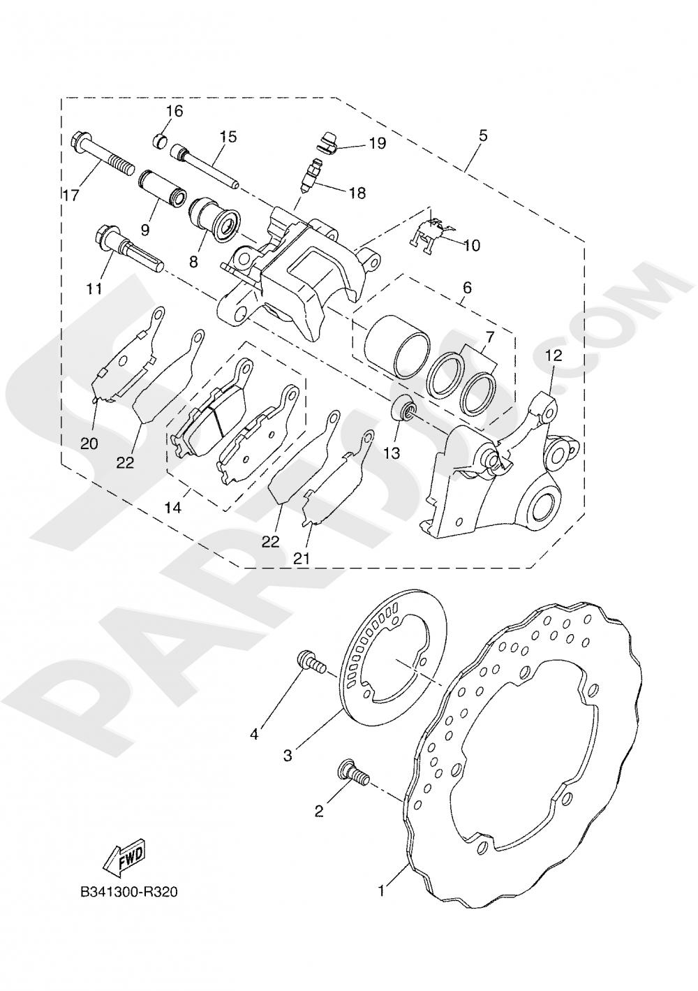 REAR BRAKE CALIPER Yamaha XSR 700 2018