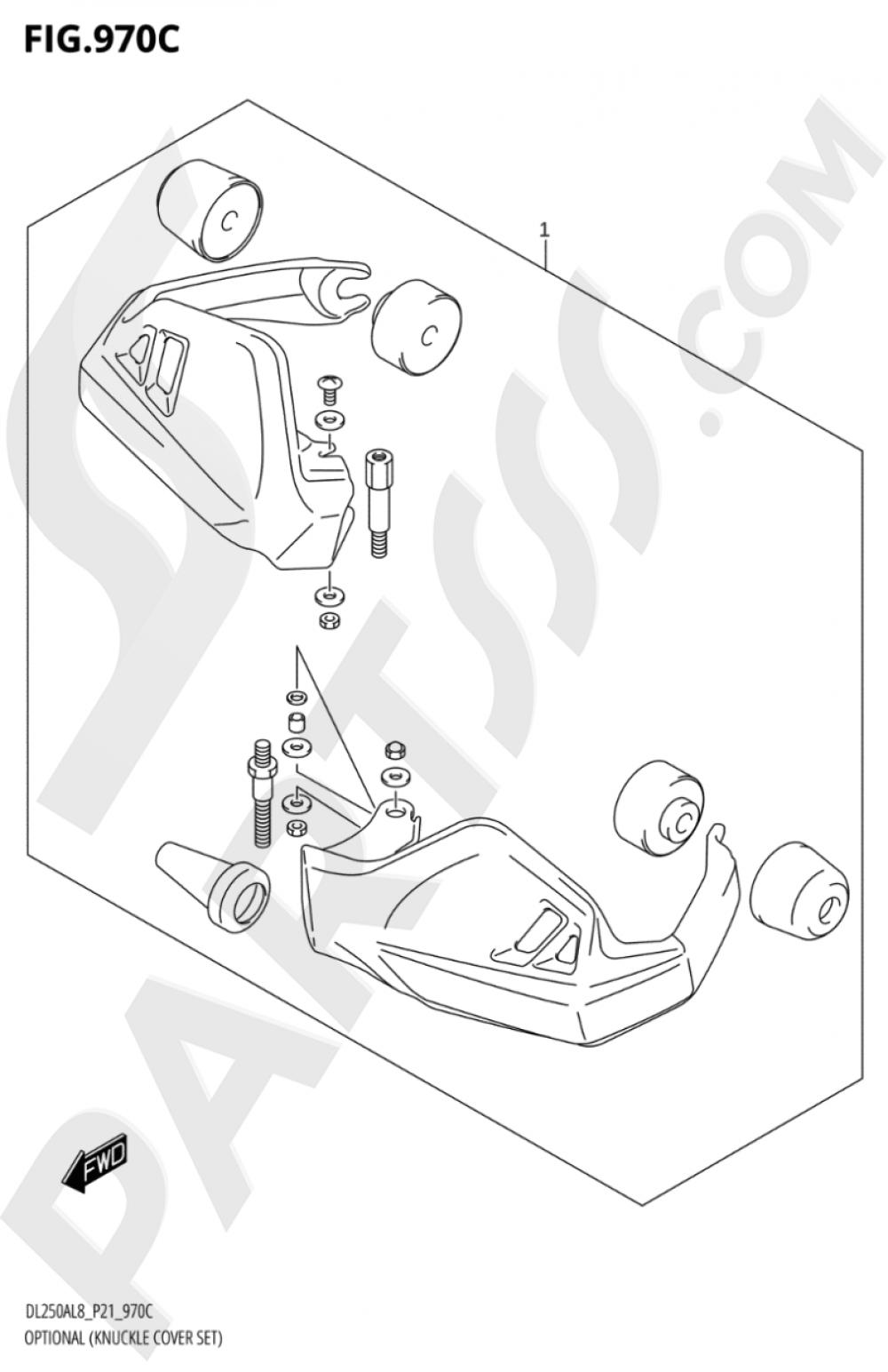 970C - OPTIONAL (KNUCKLE COVER SET) Suzuki VSTROM DL250A 2018