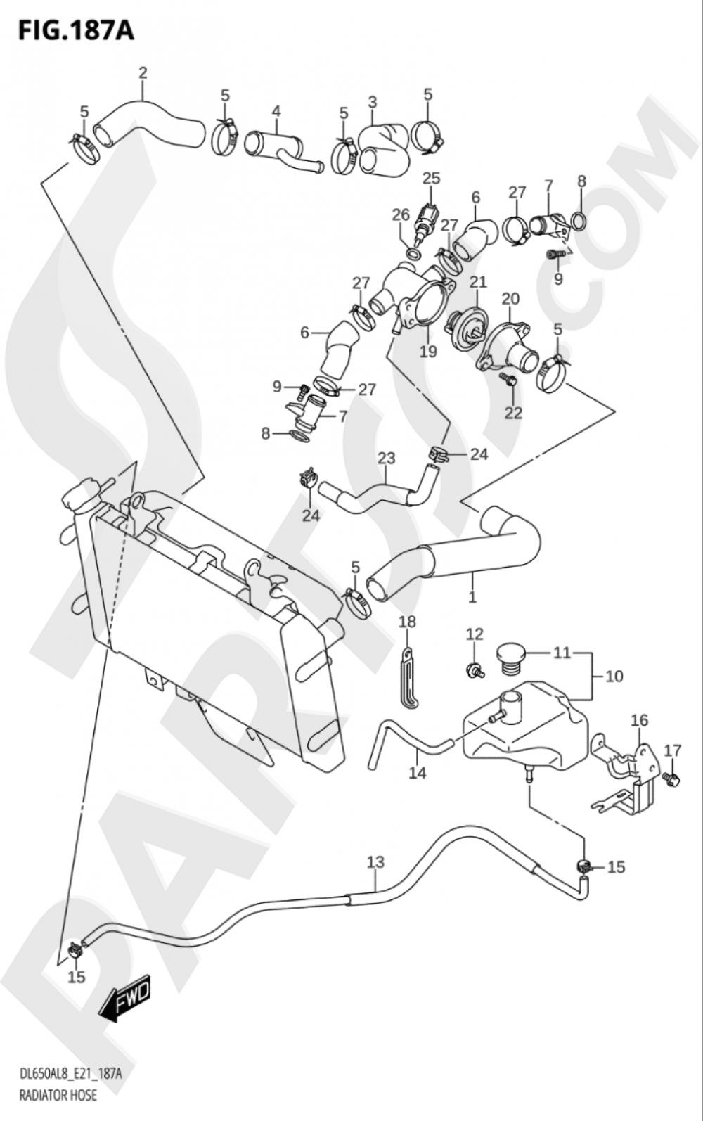 187A - RADIATOR HOSE Suzuki VSTROM DL650A 2018