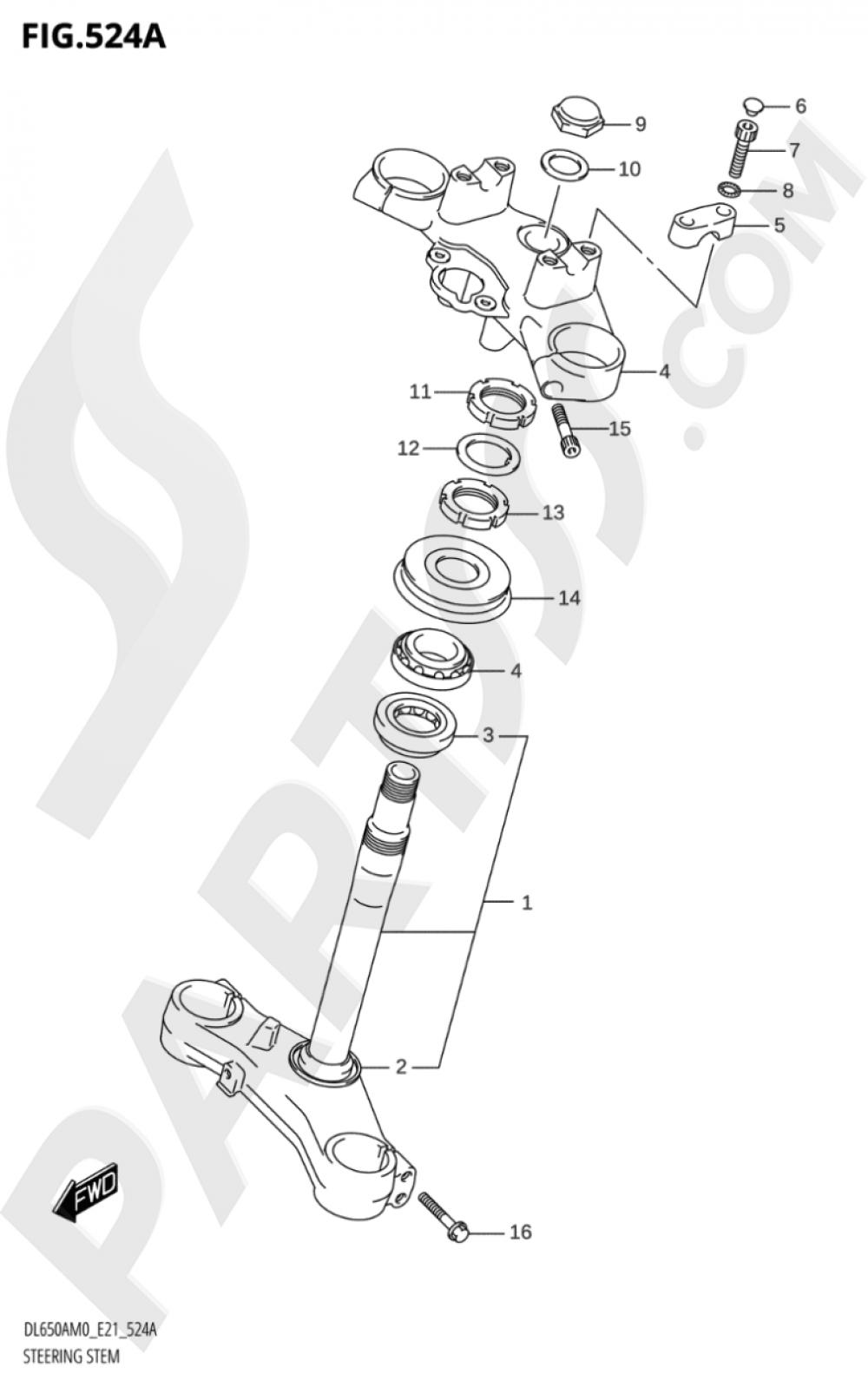524A - STEERING STEM Suzuki VSTROM DL650A 2020