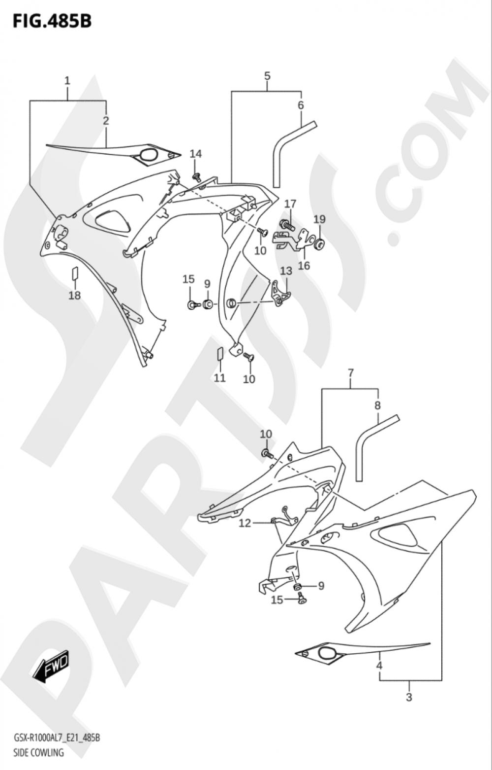 485B - SIDE COWLING Suzuki GSX-R1000A 2017