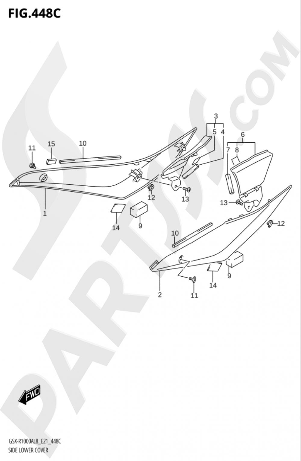 448C - SIDE LOWER COVER (GSX-R1000RAL8 E21) Suzuki GSX-R1000A 2018