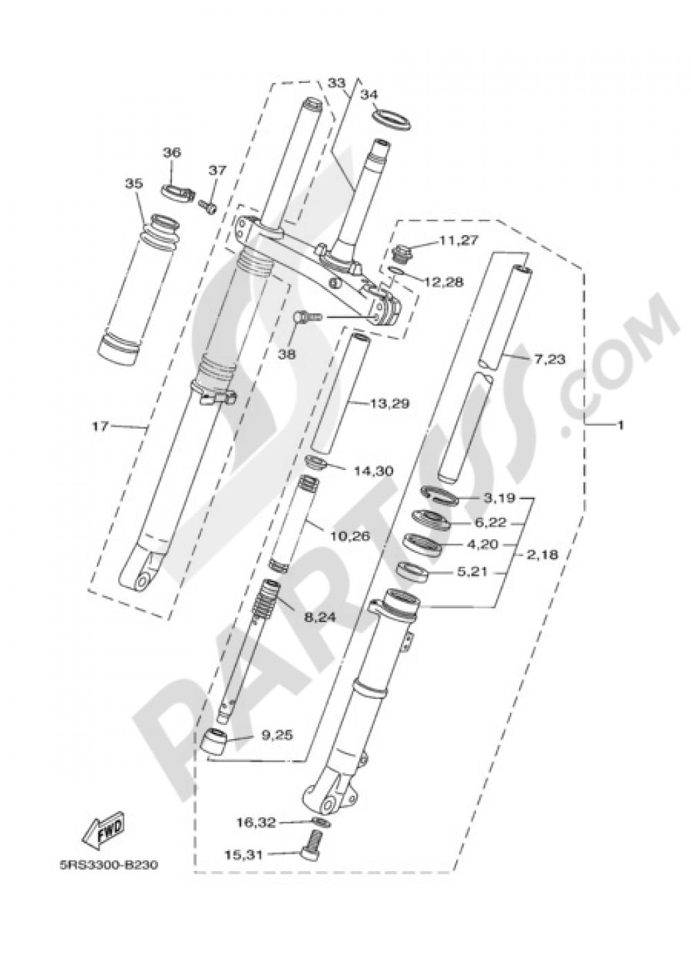 Yamaha 4CS231912000 Front Fork Boot