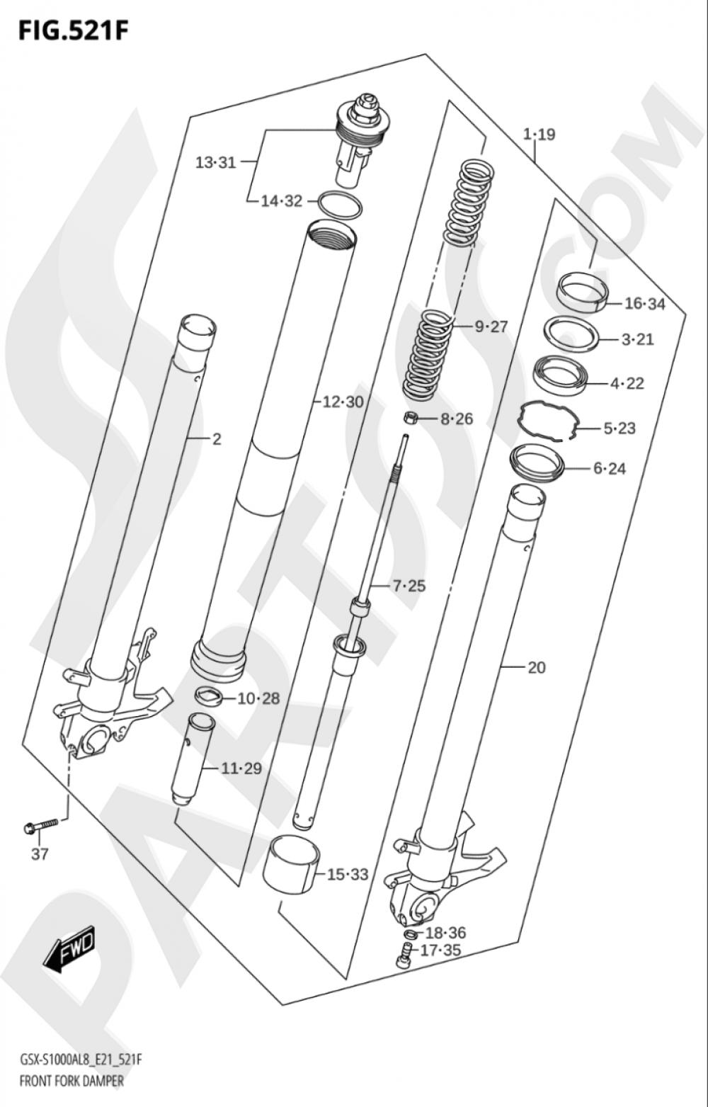 521F - FRONT FORK DAMPER (GSX-S1000YAUF:L8:E21) Suzuki GSX-S1000A 2018