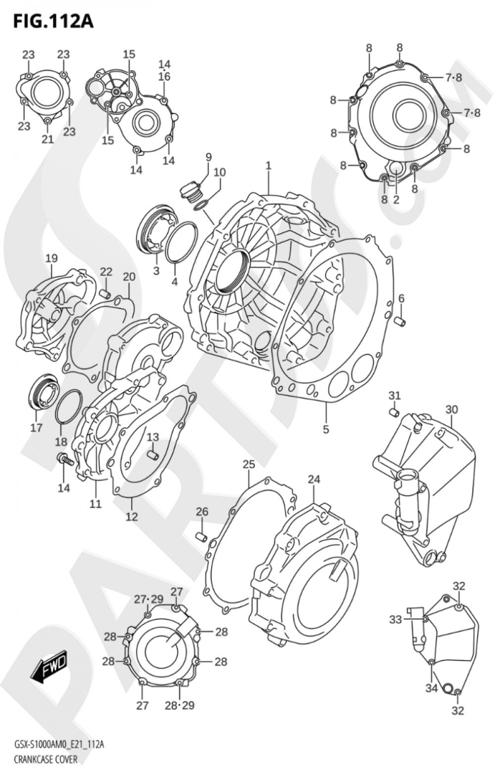112A - CRANKCASE COVER Suzuki GSX-S1000A 2020
