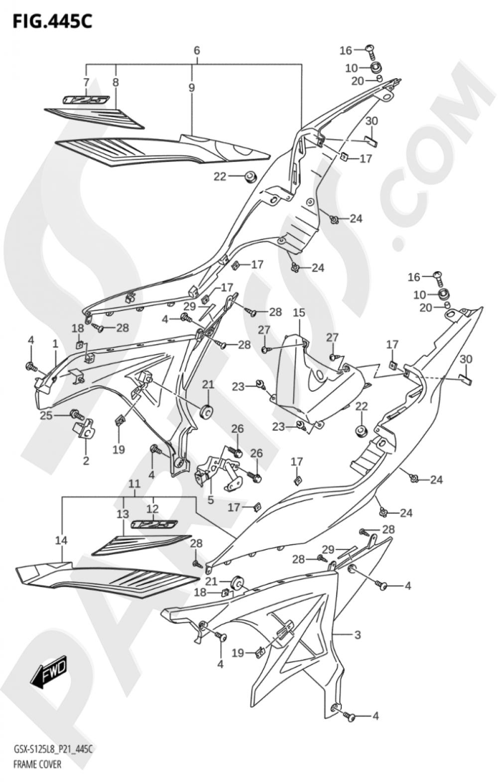 445C - FRAME COVER (GSX-S125MLX:L8:P21) Suzuki GSX-S125ML 2018