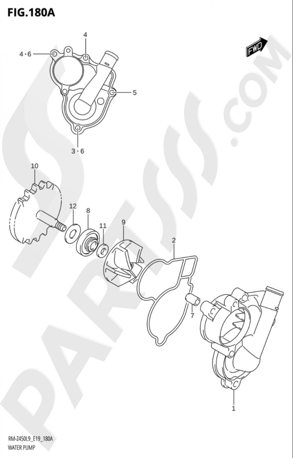 180A - WATER PUMP Suzuki RM-Z450 2019