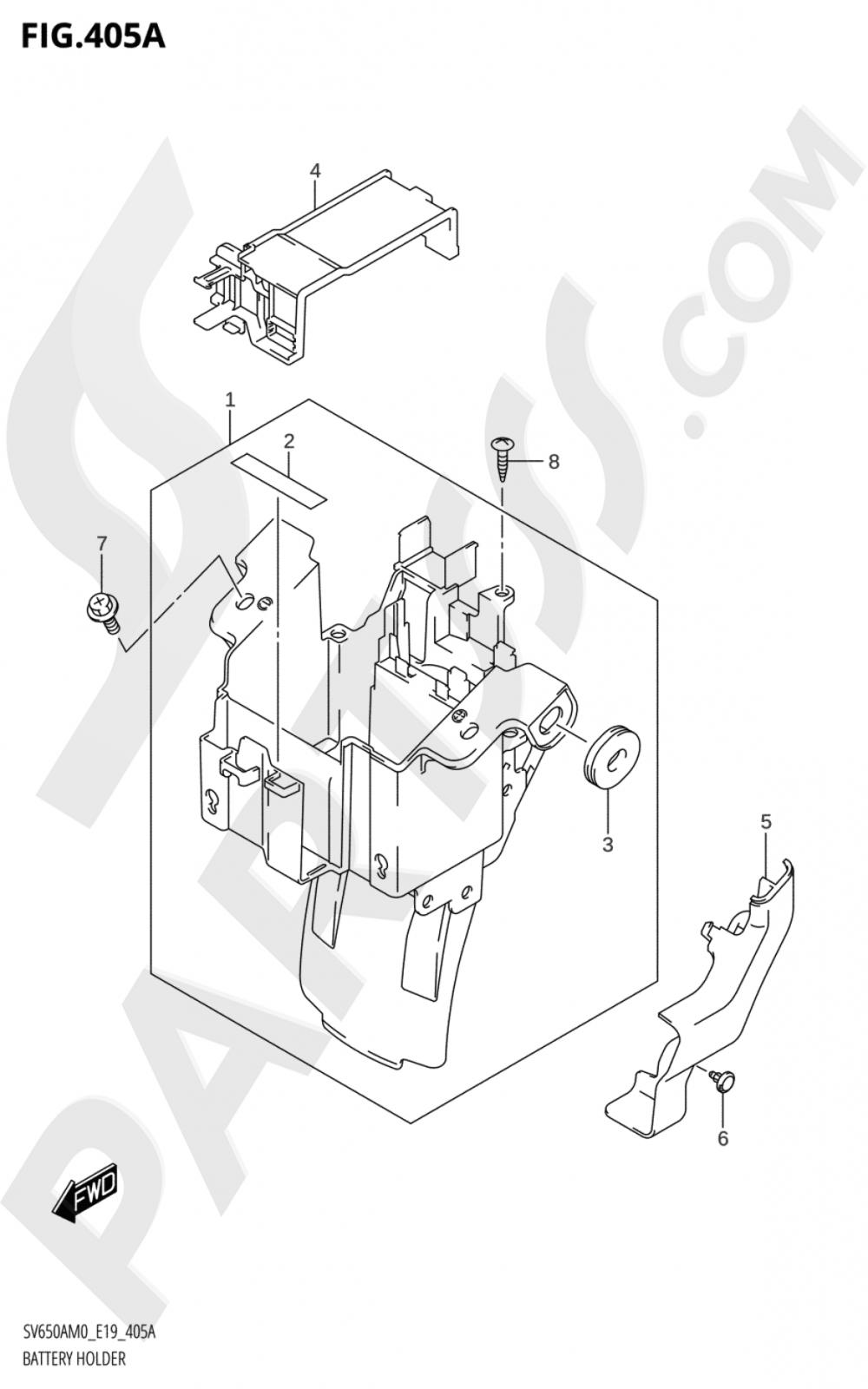 405A - BATTERY HOLDER Suzuki SV650A 2020