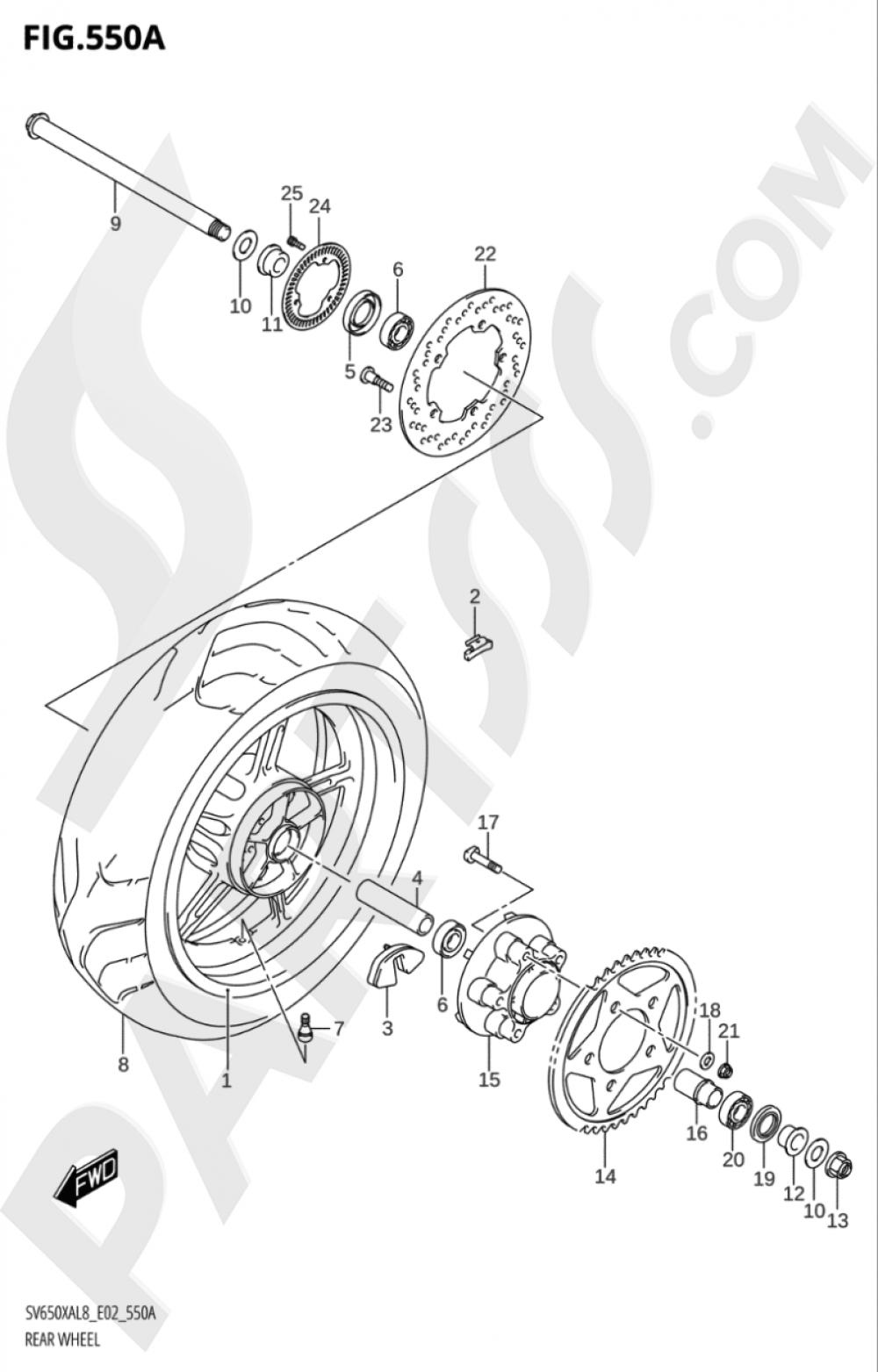 550A - REAR WHEEL Suzuki SV650XA 2018