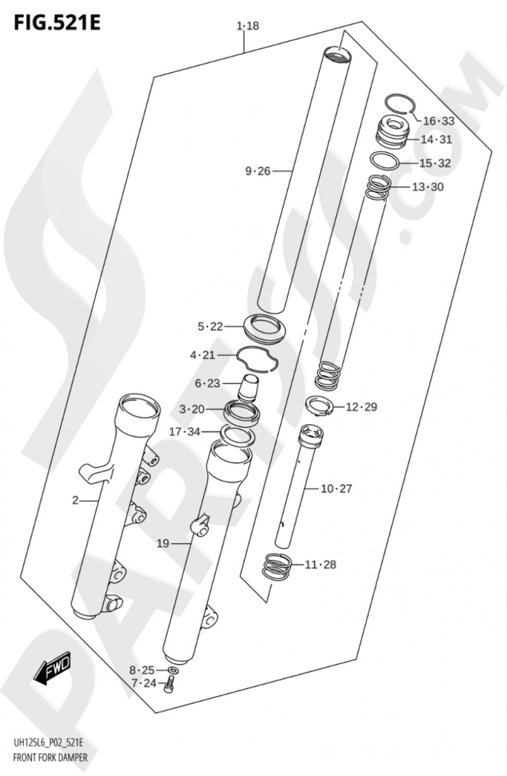 521E - FRONT FORK DAMPER (UH125AL6 P04) Suzuki BURGMAN UH125A 2016