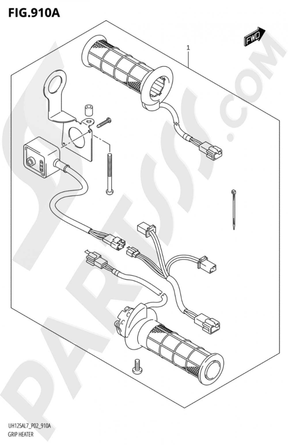 910A - GRIP HEATER (OPTIONAL) Suzuki BURGMAN UH125A 2017
