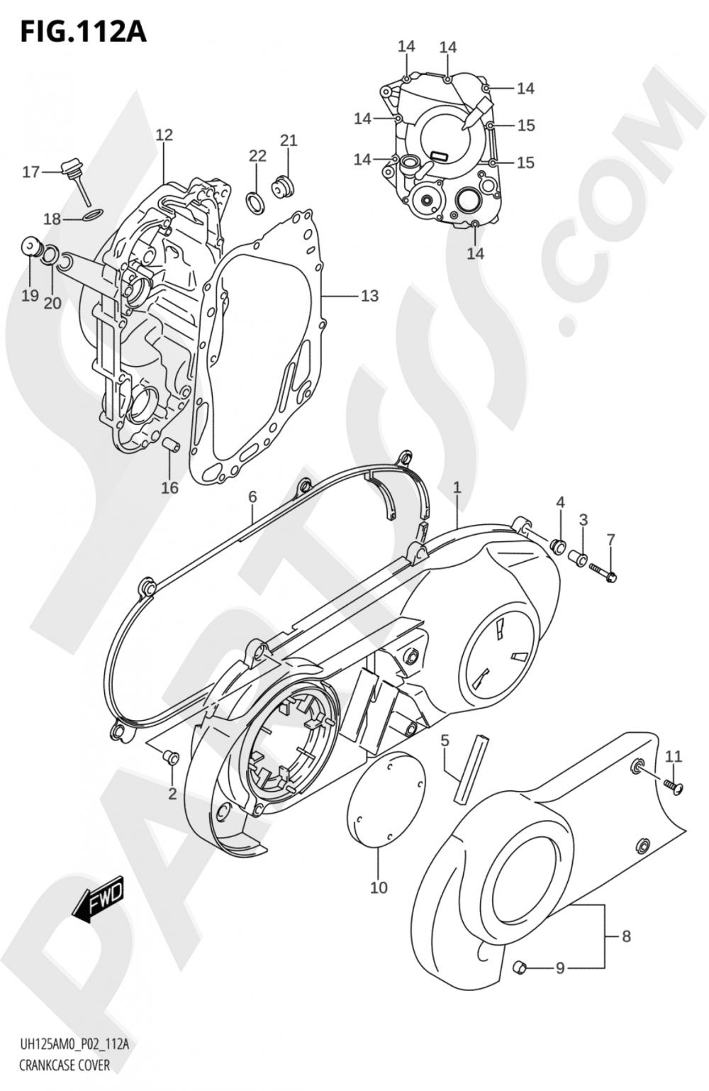 112A - CRANKCASE COVER Suzuki BURGMAN UH125A 2020
