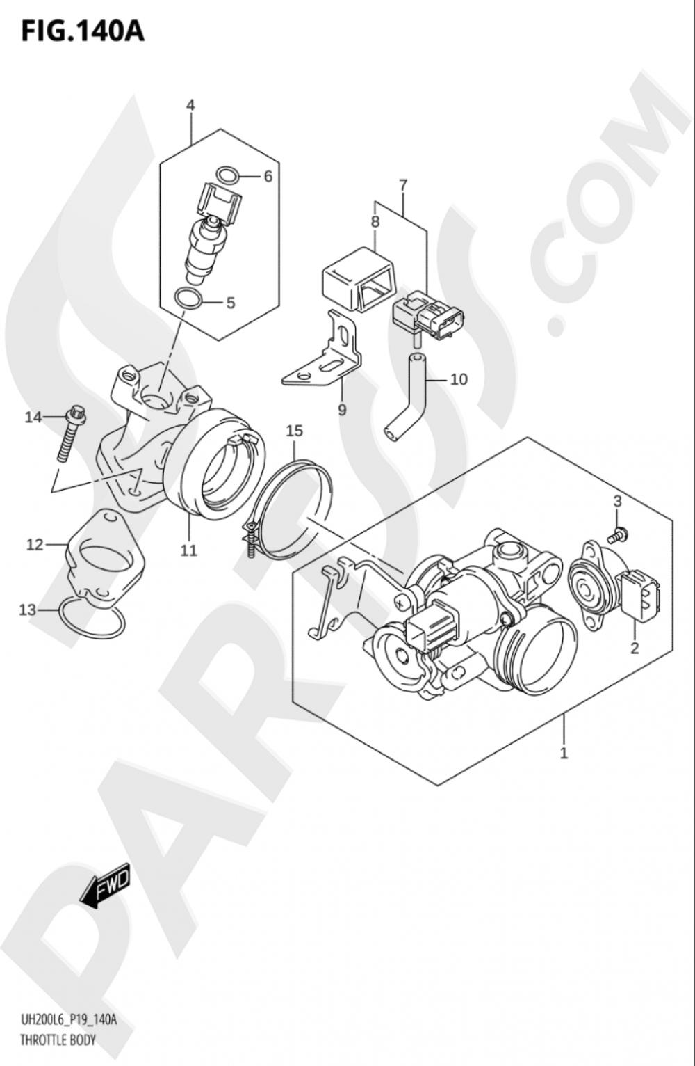 140A - THROTTLE BODY (UH200L6 P19) Suzuki BURGMAN UH200A 2016