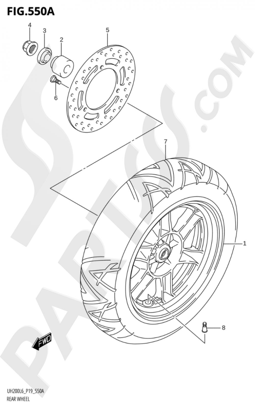 550A - REAR WHEEL (UH200L6 P19) Suzuki BURGMAN UH200A 2016