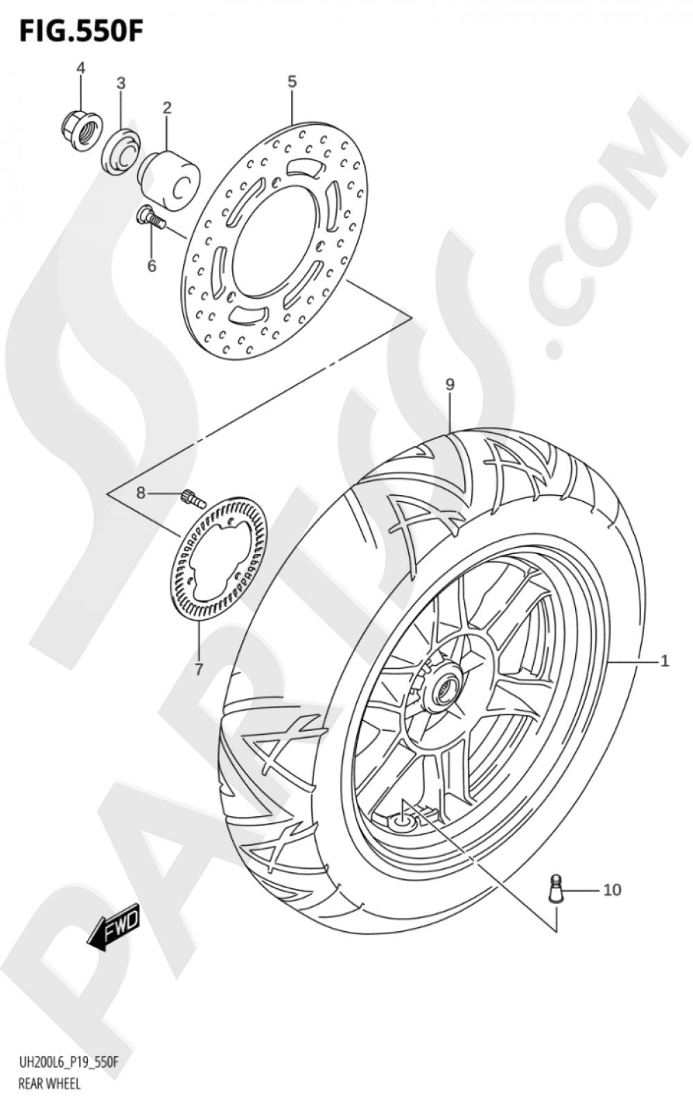 550F - REAR WHEEL (UH200AL6 P53) Suzuki BURGMAN UH200A 2016