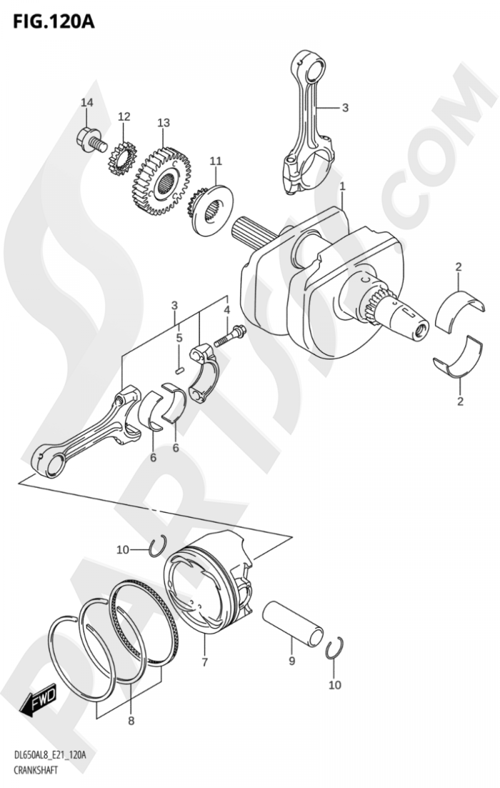 120A - CRANKSHAFT Suzuki VSTROM DL650XA 2018