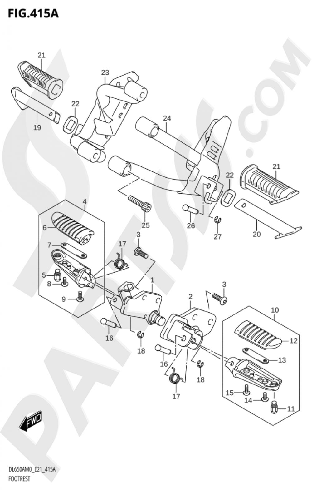 415A - FOOTREST Suzuki VSTROM DL650XA 2020