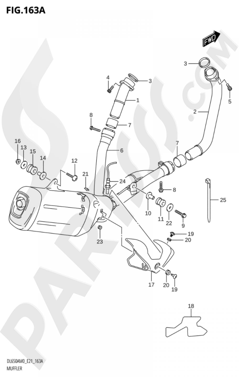 163A - MUFFLER Suzuki VSTROM DL650XA 2020