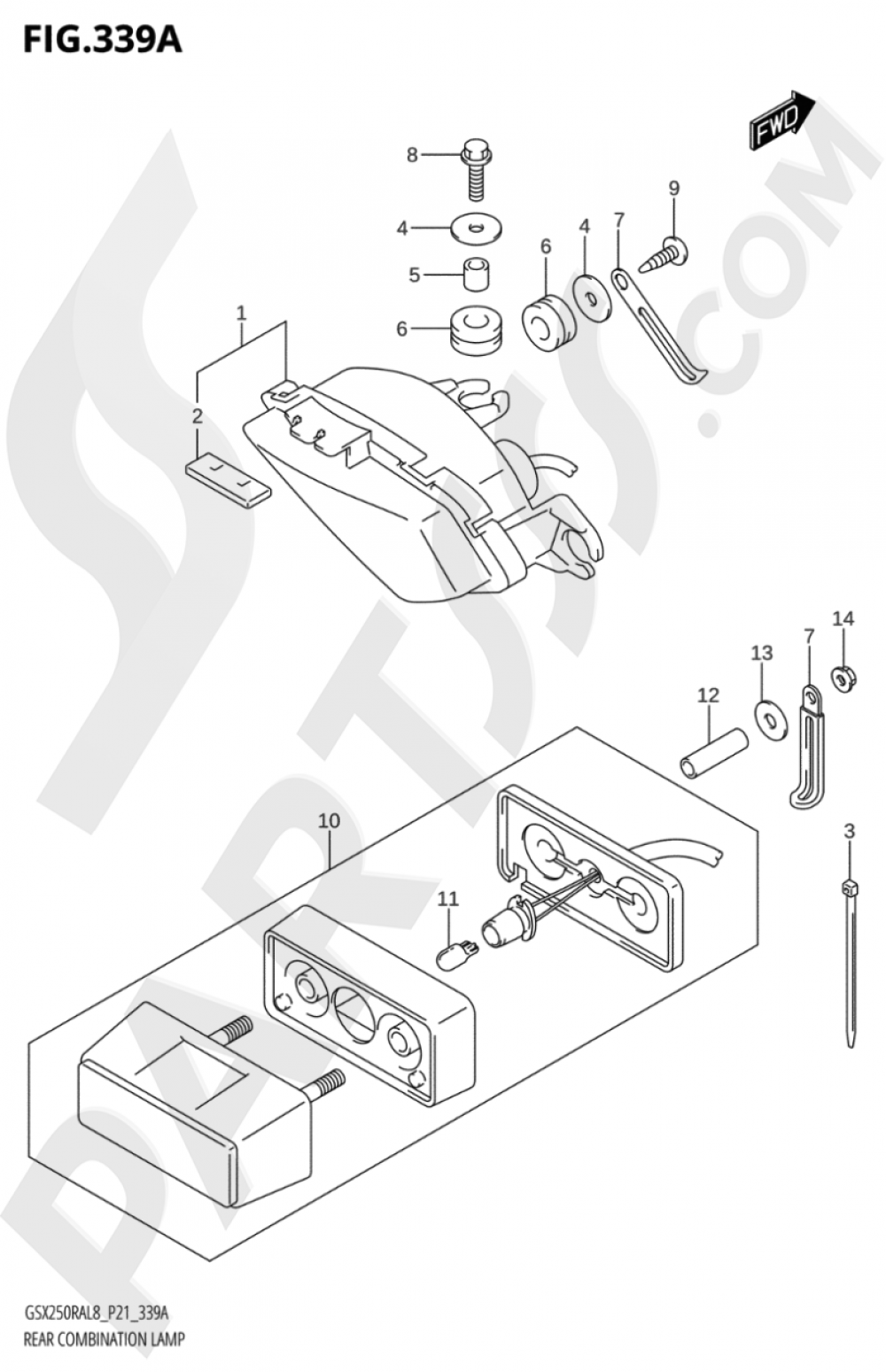 339A - REAR COMBINATION LAMP Suzuki GSX250RZA 2018