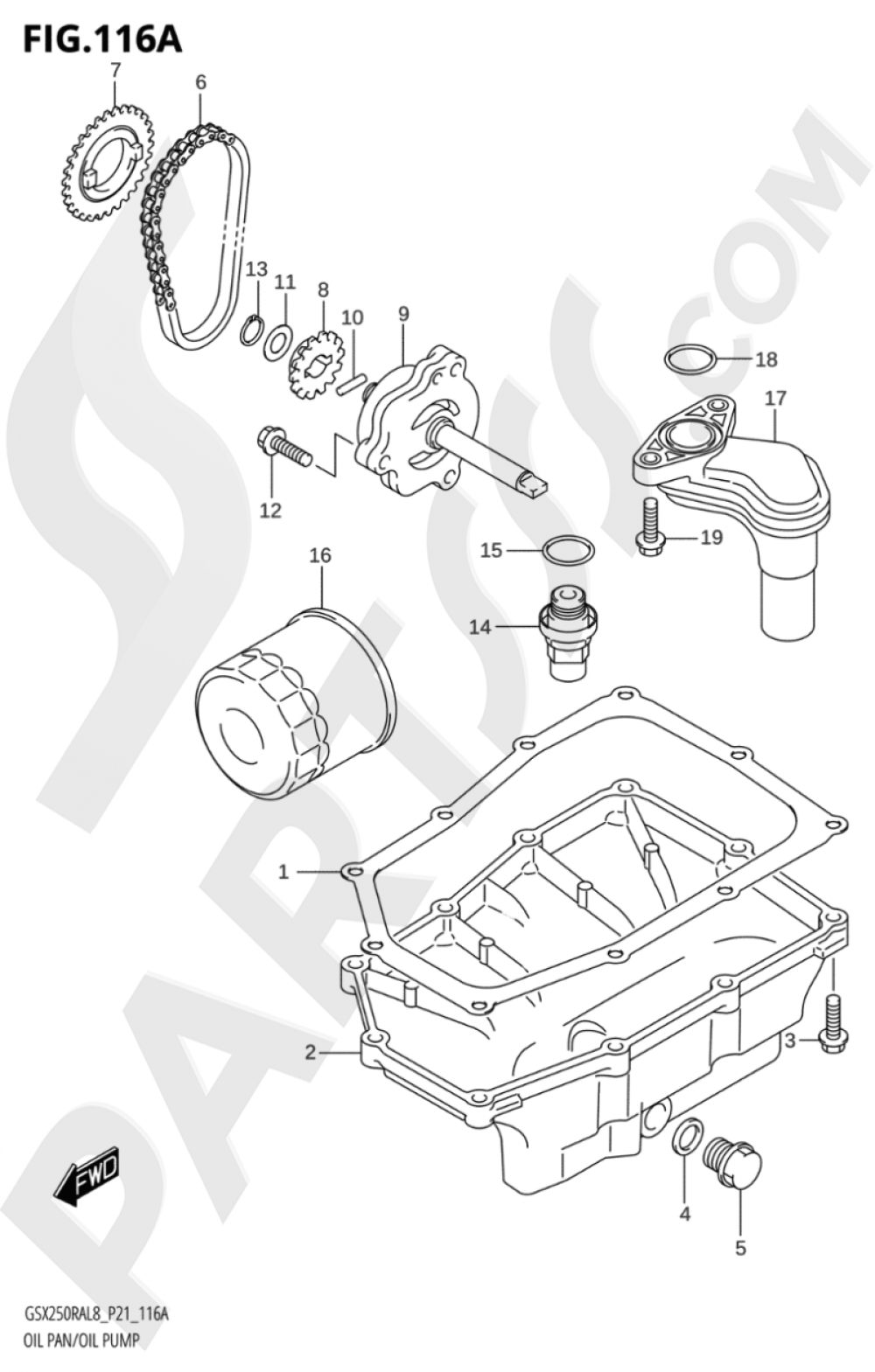 116A - OIL PAN / OIL PUMP Suzuki GSX250RZA 2018