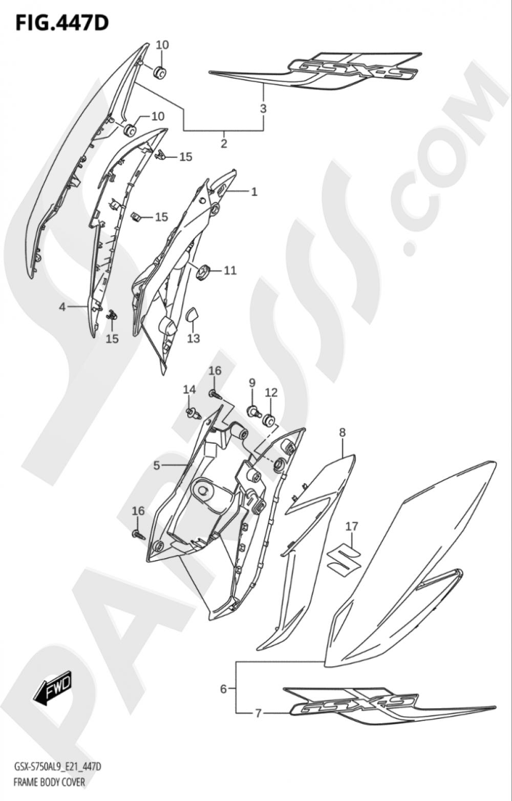 447D - FRAME BODY COVER (GSX- S750UQYL9 E21) Suzuki GSX-S750YA 2019