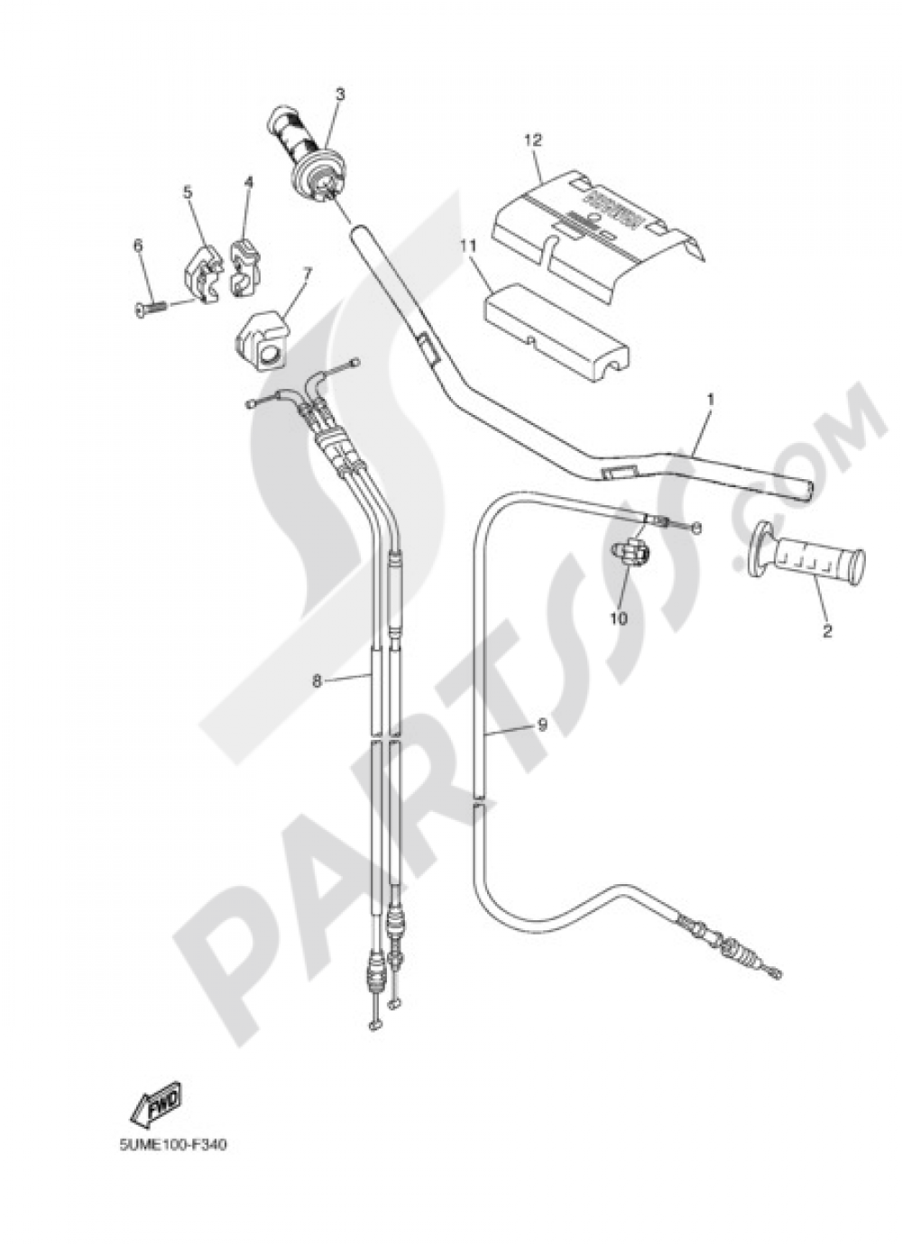 STEERING HANDLE & CABLE Yamaha WR250F 2010