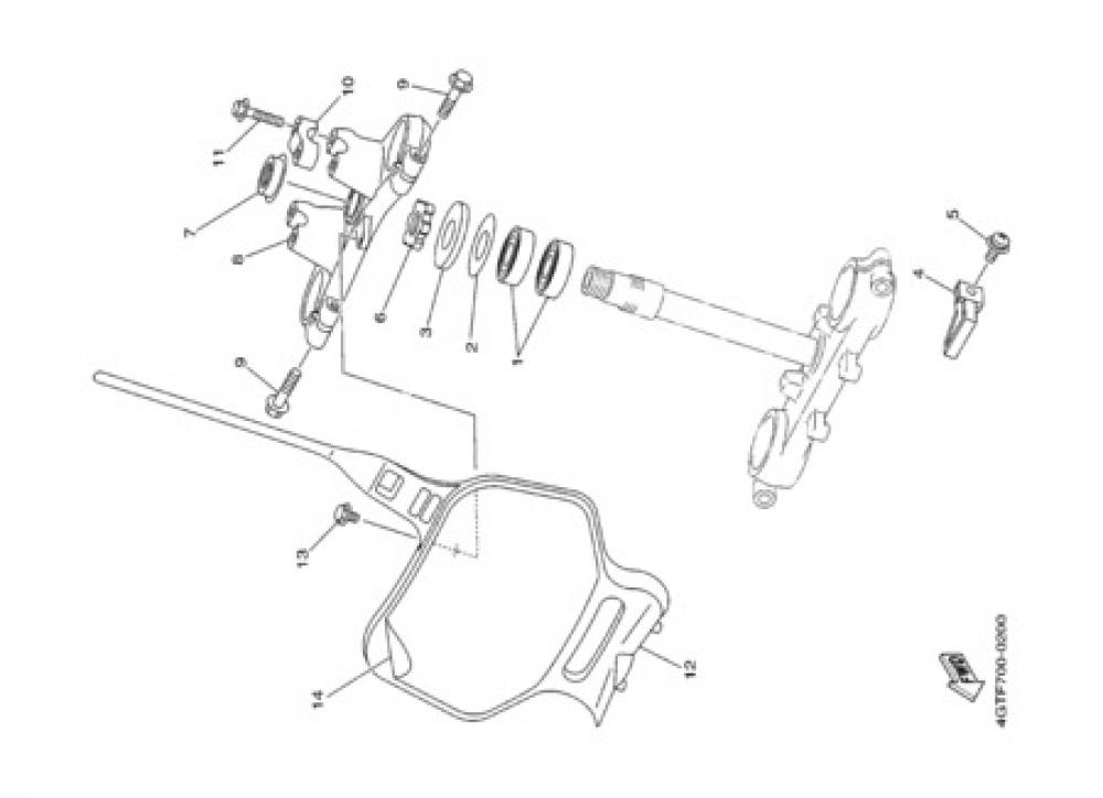 STEERING Yamaha YZ80LW 2000