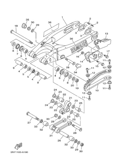 Yamaha YZ125 2004 REAR ARM