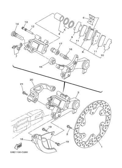 Yamaha YZ125 2004 REAR BRAKE CALIPER