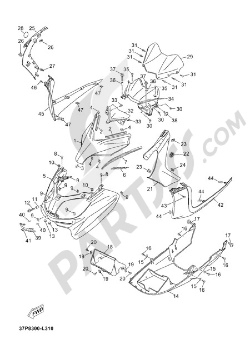 WINDSHIELD Yamaha X-Max 250 SPORT 2012