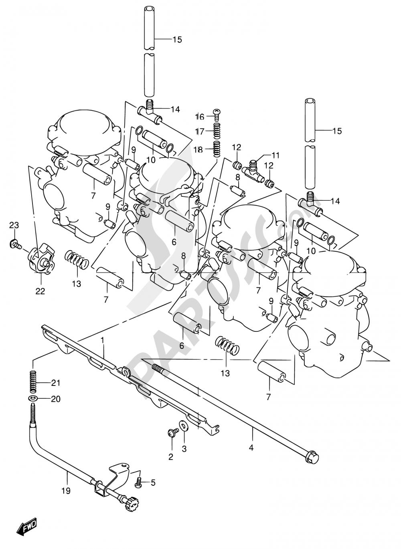 13 - CARBURETOR FITTING Suzuki BANDIT GSF1200S 2001