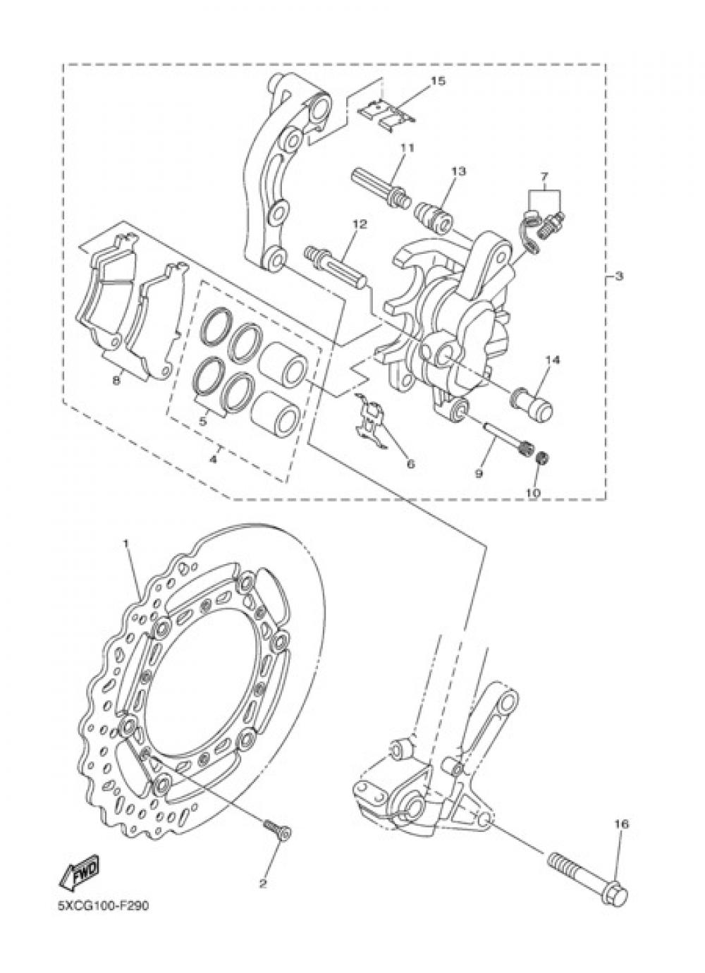 FRONT BRAKE CALIPER Yamaha YZ450F 2012
