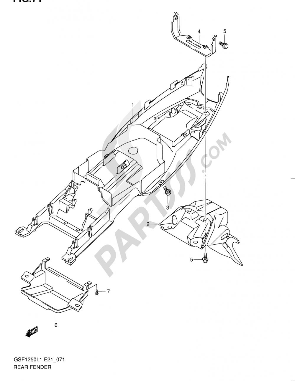71 - REAR FENDER (GSF1250L1 E21) Suzuki BANDIT GSF1250A 2011